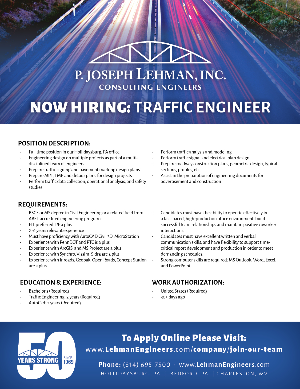 Traffic Engineer Opening 8 5x11 219 - Lehman Engineers